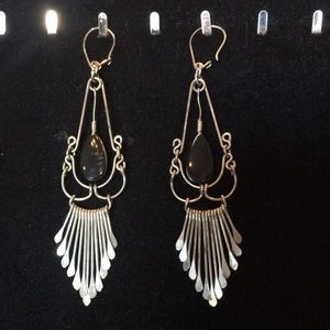 🖤 Gorgeous Vintage Black onyx dangle silver earrings ✨